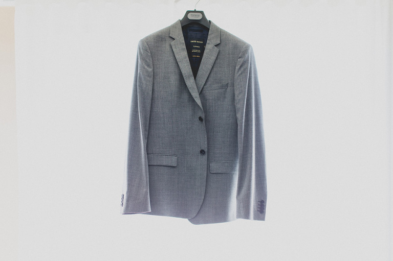 Grooms Wedding Suit Jacket Hanging